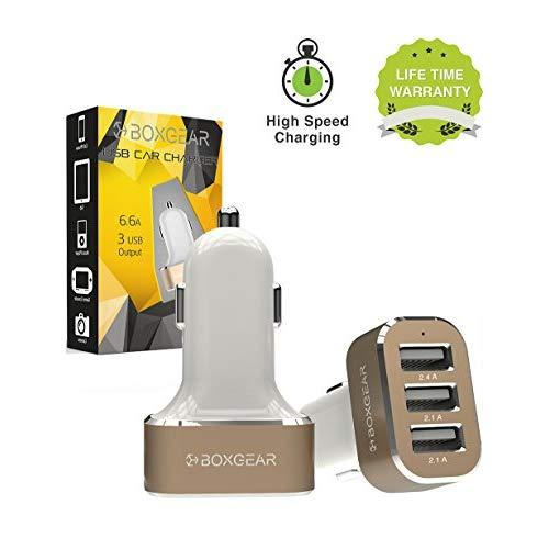 Boxgear 3 Usb Port Car Charger, 6.6A} Rapid Charger Tri-Port Usb Fast Charger For Iphone, Samsung Galaxy, Htc One, Ipad, Ipod, And All Other Usb Plugs - White/Gold