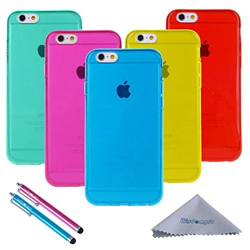 Iphone 6 Case, Iphone 6S Case, Wisdompro Bundle Of 5 Pack Extra Thin Slim Jelly Soft Tpu Gel Protective Case Cover For Apple 4.7 Inch Iphone 6 6S (Blue, Aqua Blue, Hot Pink, Yellow, Red)-Clear