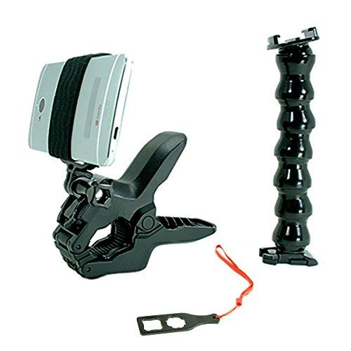 Jaws Flex Clamp + Adjustable Goose Neck + Universal Mount Adapter For Smartphone By Action Mount