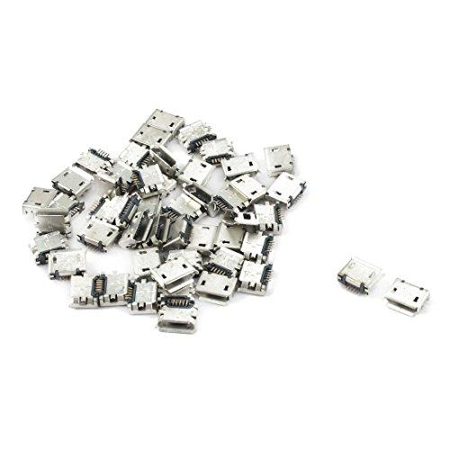 Uxcell Mobile Phone Pcb Smt Micro Usb Type B 5Pin Female Socket Adapter Connector 50 Pcs