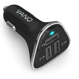 Vano Fast 3 Port Usb Cigarette Lighter Car Charger For Apple Iphone, Samsung, Ipad, Tablet, E-Reader, Portable Phone Adapter Plug - Easy-To-Open Package - Black