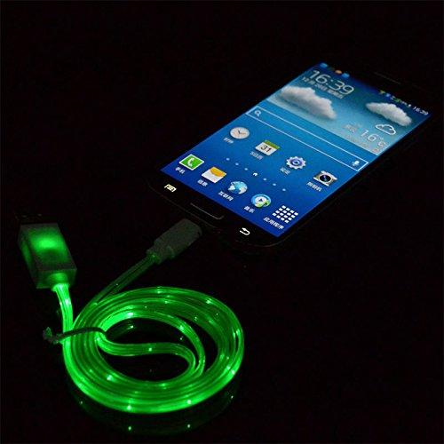 Visible Glow In The Dark Led Light Micro Usb Charger Data Sync Cable For Htc Samsung S5 S4 S3 Android (Green)