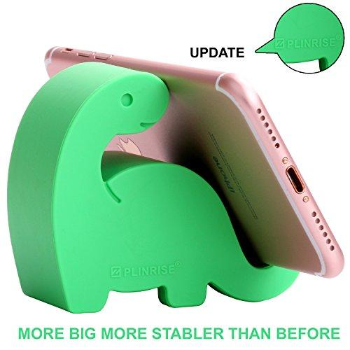 """Plinrise Animal Desk Phone Stand, Update Dinosaur Stripe Silicone Office Phone Holder, Creative Phone Tablet Stand Mounts, Size:1.3"""" X 3.1"""" X 2.8""""(Green)"""