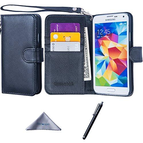 Wisdompro Galaxy S5 Case, Premium Pu Leather 2-In-1 Protective Flip/Folio Wallet Case With Multiple Credit Card/Id Card Holder/Slots And Wrist Lanyard For Samsung Galaxy S5 - Black With Lanyard