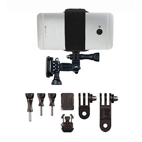 Action Mount Universal Helmet Mount Kit Adapter For Smartphone, Operable With Any Phone. Includes Parts Shown, With Wrench And Universal Phone Adapter. Compatible With Gopro Cameras.