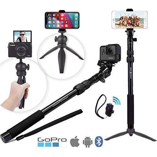 Premium Hd Rugged 4-In-1 Selfie Stick Tripod Stand Kit + Bluetooth Remote - Universal: Any Iphone, Android, Gopro Or Camera - Iphone Xs Max Xs Xr X 8 7 6 Plus, Samsung S9 Etc.   Best Gift Pack