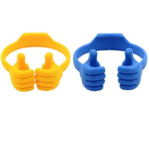 Honsky Thumbs-Up Cell Phone Stands, Tablet Display Stands, Cellphone Holder, Mobile Smartphone Mount Cradle For Desk Desktop - Universal Multi-Angle Cute, 2 Packs, Yellow, Blue