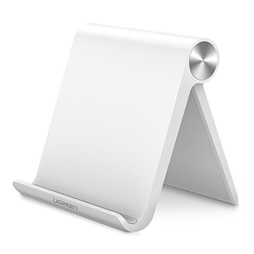 Ugreen Cell Phone Stand Holder Mobile Phone Dock Compatible For Iphone 11 Pro Max Xs Xr 8 Plus 6 7 5 Samsung Galaxy S10 S9 S8 S7 Edge S6 Android Smartphone Holder For Desk Adjustable Foldable (White)