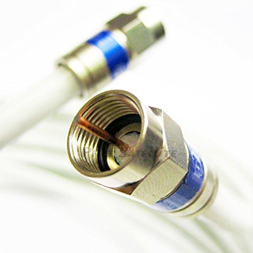 White Coaxial Rg6 Cable 200Ft Ul Etl Cm Catv Fire Retardant Satellite Audio Video Cable With Weather Seal Anti Corrossive Brass Connectors