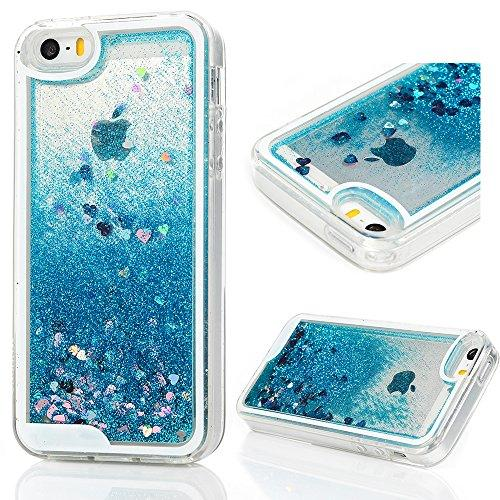 Mollycoocle Iphone Se Case, Iphone 5 5S Case, 3D Liquid Bling Sparkle Glitter Clear Tpu Shell Quicksand Cute Star Fashion Creative For Girls Flowing Protective Cover For Iphone Se/5/5S - Blue