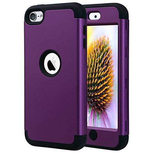 Ulak Ipod Touch 7 Case, Ipod Touch 6 & 5 Case, Heavy Duty High Impact Shockproof Cover Protective Case For Apple Ipod Touch 5Th 6Th 7Th Generation, Purple + Black