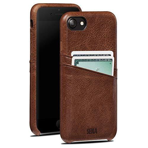 Sena Leather Hand Wrapped Snap On Cell Phone Case With Two Card Pockets For Iphone 6, 7, 8 - Drop Safe, Cognac