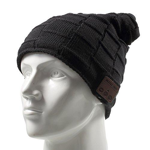 Muifa Wireless Headset Music Hat, Knit Winter Warm Beanie Headphone W/Built-In Microphone For Hands-Free Calling - Black