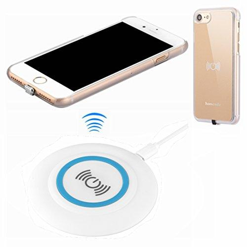 Wireless Charger Kit For Iphone 7, Hanende Qi Wireless Charging Pad And Wireless Receiver Case For Iphone 7 (Gold)