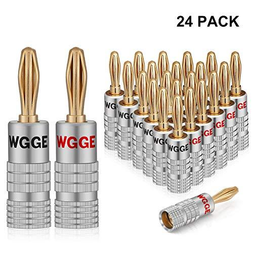 Wgge Wg-009 Banana Plugs Audio Jack Connectors, 24K Gold Dual Screw Lock Jack Speaker Banana Connectors For Speaker Wire, Wall Plate (12 Pairs (24 Plugs))