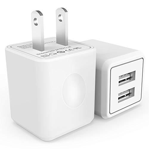 Wall Charger, 2.1A 12W Dual Port Portable Universal Usb Wall Charger For Apple Iphone,Ipad, Samsung Galaxy, Htc Nexus Moto Blackberry, Bluetooth Speaker Headset & Power Bank, White (2-Pack)