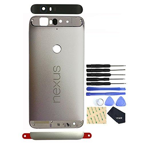Vekir Battery Back Case + Top&Bottom Cover Replacement For Huawei Nexus 6P(Silver)
