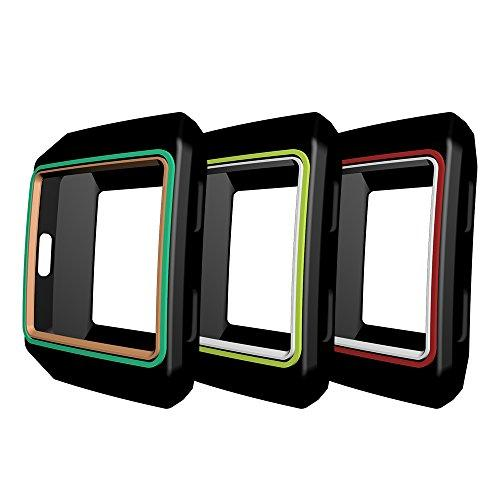 Awinner Colorful Case For Fitbit Ionic,Shock-Proof And Shatter-Resistant Protective Silicone Case For Fitbit Ionic Smartwatch (3-Black)
