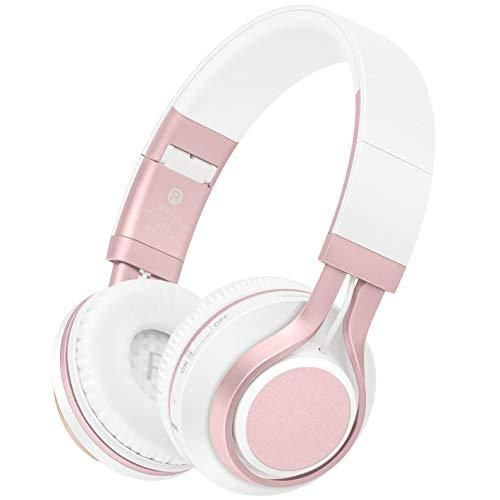 Picun Wireless Headphones 4 In 1 Bluetooth Headphones With Hd Mic, Hifi Stereo Bass Foldable Headset, Soft Protein Earmuffs, Tf Card & Wired Mode For Pc Tv Travel Kids Girl Women (Rose Gold)