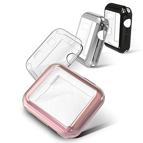 Simpeak Soft Screen Protector Bumper Case Compatible With Apple Watch 38Mm Series 2 Series 3, Pack Of 4, All-Around, Clear, Rose Gold, Silver, Black