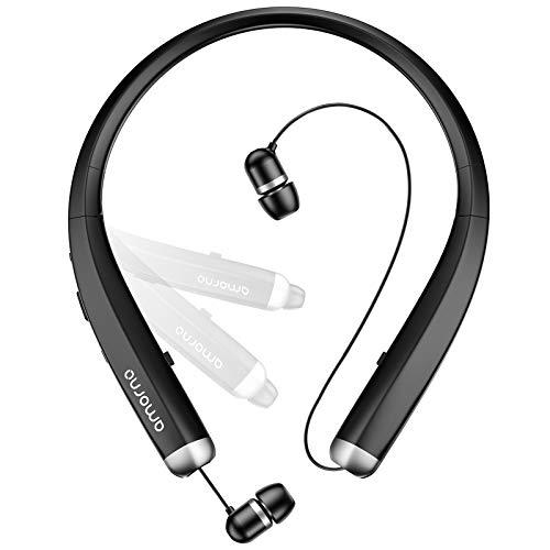 Bluetooth Headphones, Amorno Foldable Wireless Neckband Headset With Retractable Earbuds, Sports Sweatproof Noise Cancelling Stereo Earphones With Mic