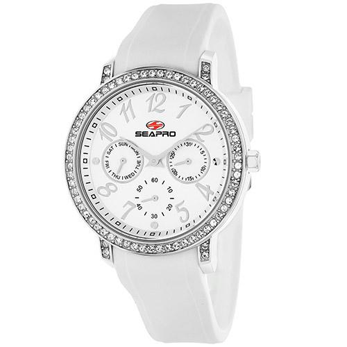 Seapro Women'S Sp4410 Swell White/Silver Stainless Steel Case With Silicone Strap Watch