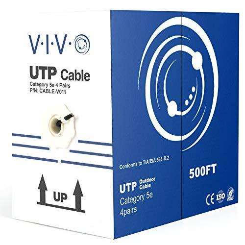 VIVO Black 500ft Bulk Cat5e, CCA Ethernet Cable, UTP Pull Box | Cat-5e Wire, Waterproof, Outdoor, Direct Burial (CABLE-V011)