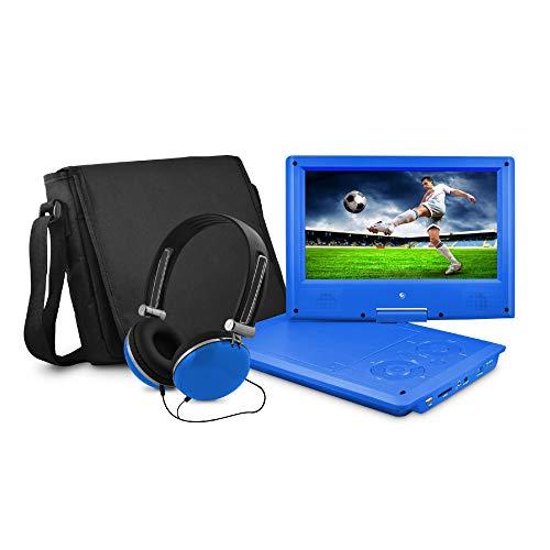 Ematic Portable DVD Player with 9-inch LCD Swivel Screen, Travel Bag and Headphones, Blue