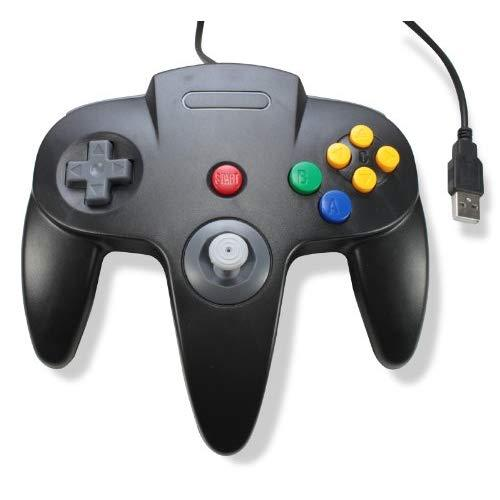 Classic Retro N64 Bit Usb Wired Controller For Pc And Mac - Black