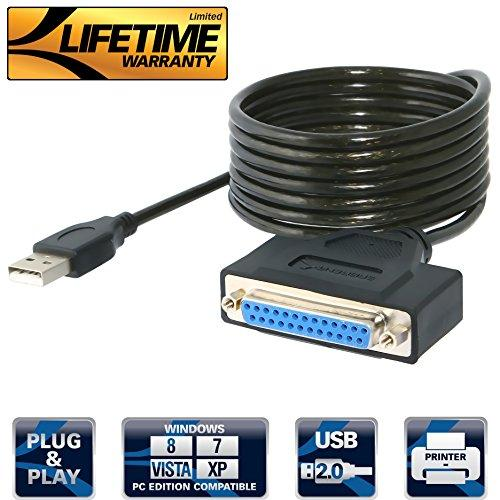 Sabrent Usb 2.0 To Db25 Ieee-1284 Parallel Printer Cable Adapter [Hexnut Connectors] (Cb-1284)