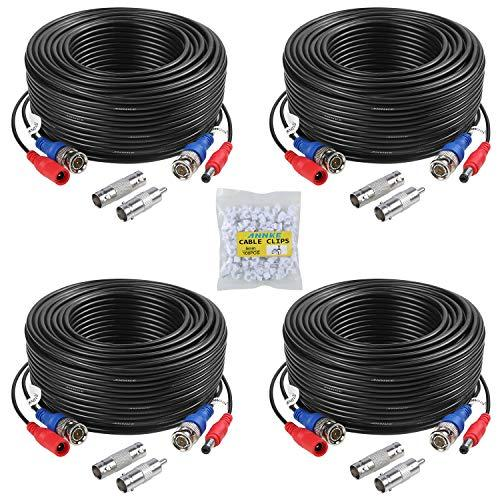 ANNKE 100 Feet (30 meters) 2-In-1 Video/Power Cable with BNC Connectors and RCA Adapters for Video Security Systems (4-Pack, Black)