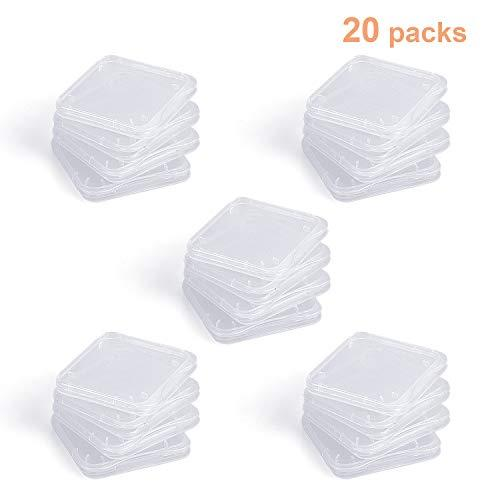SD Card Holder, WOVTE Plastic SD MMC SDHC PRO Duo Memory Card case Holder Jewelery Case Transparent White Pack of 20
