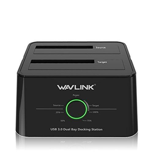 WAVLINK USB 3.0 to SATA (5Gbps) Dual-Bay Hard Drive Docking Station for 2.5 inch/3.5 Inch HDD,SSD Support Offline Clone/Backup/UASP Functions [10TB×2 ]-Black