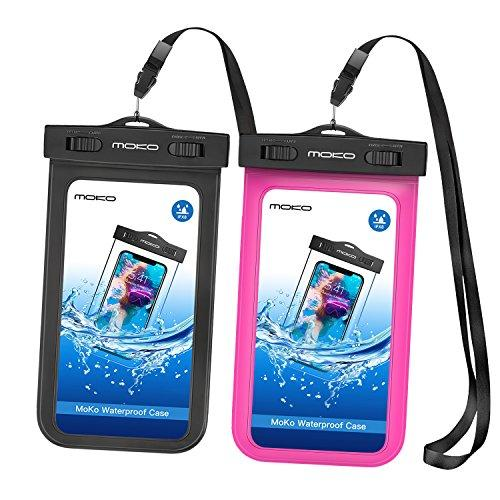 """MoKo Waterproof Phone Pouch [2 Pack], Underwater Waterproof Cellphone Case Dry Bag with Lanyard Compatible with iPhone 11/11 Pro/11 Pro Max/X/Xs/Xr/Xs Max/8/7, Samsung S10/S9/S8 Plus/S10 e, Up to 6.5"""""""