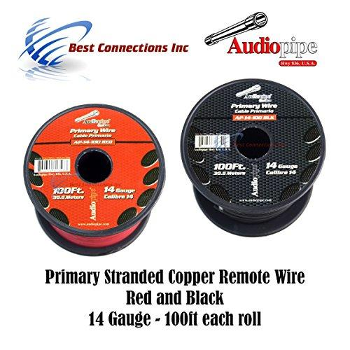 14 GAUGE WIRE RED ; BLACK POWER GROUND 100 FT EACH PRIMARY STRANDED COPPER CLAD