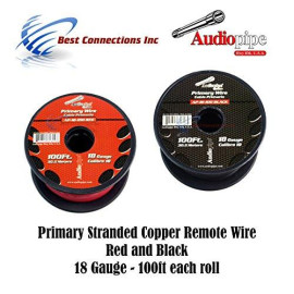 18 GAUGE WIRE RED ; BLACK POWER GROUND 100 FT EACH PRIMARY STRANDED COPPER CLAD