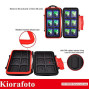 Kiorafoto Professional Water-Resistant Anti-Shock Holder Storage SD SDHC SDXC TF Memory Card Case Protector Cover with Carabiner for 12SD Cards ; 12 Micro SD Cards