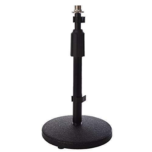 """Lyxpro Desktop Microphone Stand, 9""""- 14"""" Adjustable Height Desk Mic Holder, Weighted Cast Iron Base, 3/8"""" - 5/8"""" Adapter Screw, Table Top Non Slip Rubber Feet"""