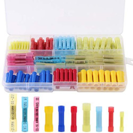 Hilitchi 135Pcs Waterproof Nylon Heat Shrink Butt Insulated Terminals Quick Splice Electrical Wire Crimp Connectors Kit