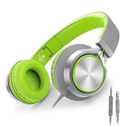 Ailihen C8 Foldable Headphones With Microphone And Volume Control For Cellphones Tablet Smartphones Laptop Computer Pc Mp3/4 (Gray/Green)