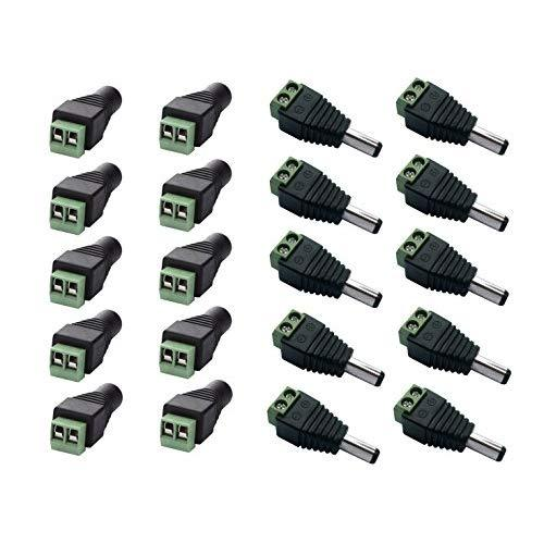 10 Male and 10 Female 12v DC Power Jack Adapter Connector for Led Strip CCTV Camera
