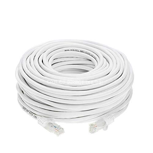 Cables Direct Online Snagless Cat5e Ethernet Network Patch Cable White 50 Feet