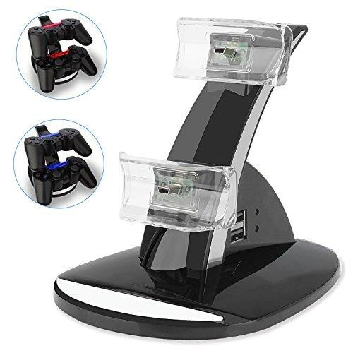 Ps3 Playstation 3 Controller Charger, Yccteamâ® Dual Console Charger Charging Docking Station Stand For Playstation 3 Ps3 With Led Indicators, Black