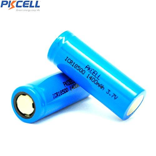 ICR18500 Rechargeable Li-Ion Batteries 3.7V 1400mah with Flat Top (2pc)