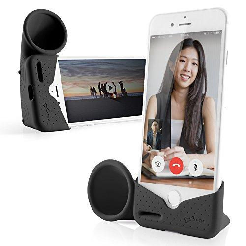Bone Collection Horn Stand Acoustic Sound Amplifier Speaker Desktop Charging Dock Cradle for iPhone 8 iPhone 7 iPhone 6 6S (NOT Plus) - Retail Packaging - Black (Small)