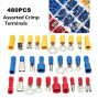 GekBot Wire Crimp Connectors, 480pcs Electrical Automotive Wire Assortment Connector Kit, Non Insulated Solderless Terminal Repair Lug Kit, Spade Ring Butt Male Female Assorted Set