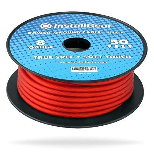 InstallGear 8 Gauge Red 50ft Power/Ground Wire True Spec and Soft Touch Cable on Spool