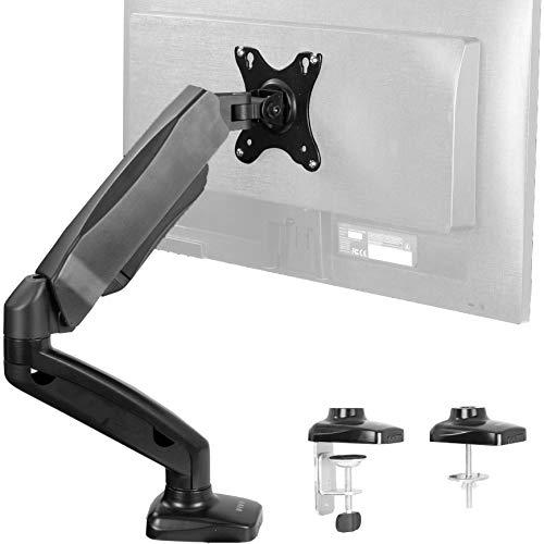 VIVO Height Adjustable Monitor Arm - Single Counterbalance Desk Mount for Screens up to 27 inches   Fully Articulating Black Pneumatic Universal VESA Stand (STAND-V001O)