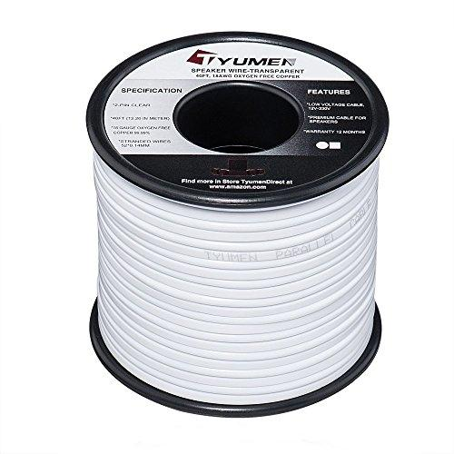 TYUMEN 18 AWG Gauge 2 Conductor Stranded 40 FT Roll Speaker Zip Wire Car Home Audio Cable, 99.95% Oxygen Free Copper Wires, White