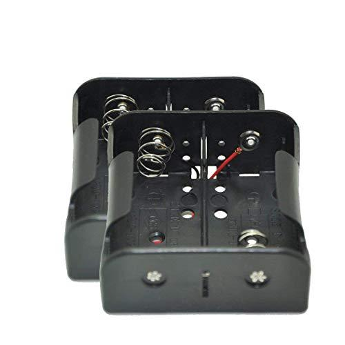 2Pc X 1.5V D Size Battery Holder Box Container Two Wires(Black Plastic)